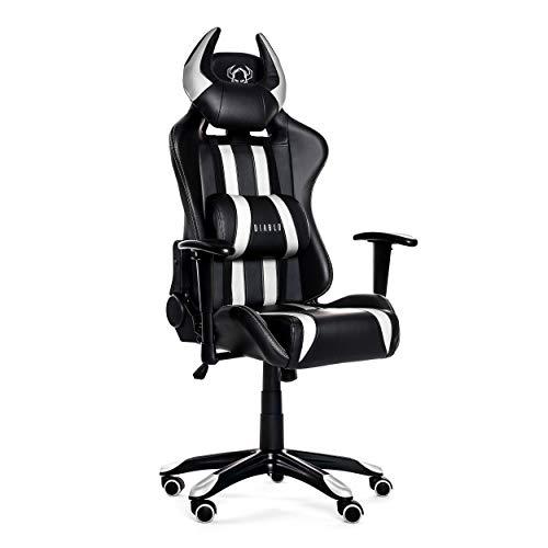 Diablo X-One Horn Gaming Stuhl Bürostuhl Wippfunktion verstellbare Armlehnen Lendenkissen Kunstleder Farbwahl (weiß-schwarz, Standard)