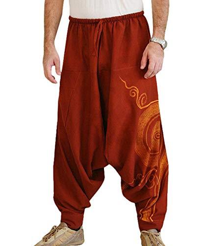 Taigood Hombre Pantalones Harem Cómoda Cintura Elástica Pantalones Moda Color Sólido Casuales Yoga Hippies Pantalones Rojo Tamaño XL