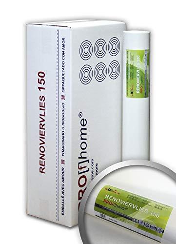 Profhome Renoviervlies 150 g Malervlies Vlies glatte überstreichbare Vliestapete weiß 112,50 qm 1 Kart. 6 Rollen