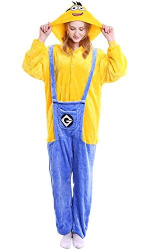 YAOMEI Erwachsene Unisex Overalls, Kostüm Tier Kostüm Anzug Strampler Nachthemd Pyjama Hoodie Nachtwäsche Cosplay Karton 3D Kigurumi Karneval Weihnachten Halloween (M, Minions)