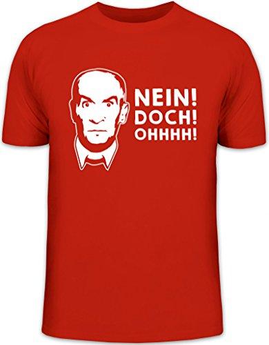 Shirtstreet24, Nein! DOCH! Ohhhh! Herren T-Shirt Herrenshirt Funshirt, Größe: XL,rot