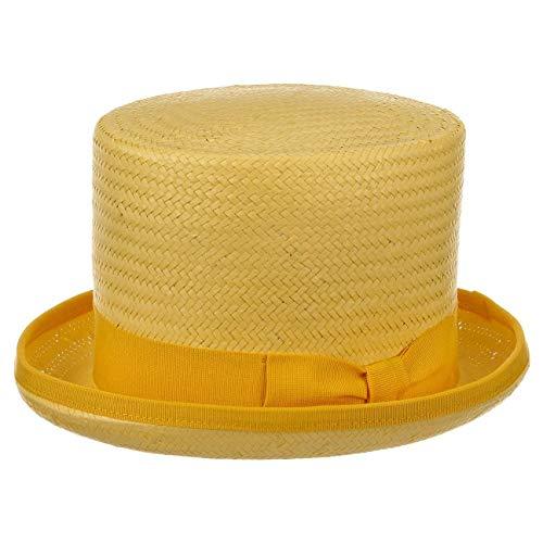 Chapeaushop Haut-de-Forme Rom en Paille Chapeaux de Paille Chapeau pour Homme (57 cm - Jaune)