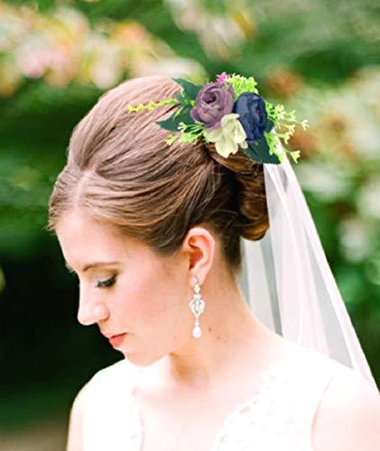 Cathercing Peigne à cheveux de style bohème avec rose rouge pour mariée - Accessoire pour cheveux de mariée