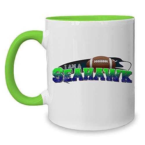 shirtdepartment - Kaffeebecher - Tasse - American Football Mannschaften - Football Fan Becher - mit wählbaren Teams I-am-a-Seahawk Weiss-apfelgrün