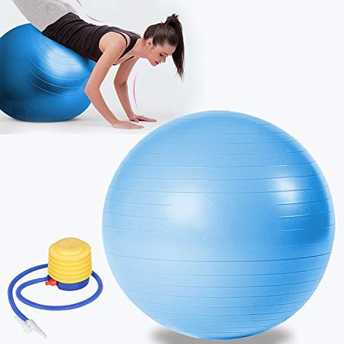 VINGO Gymnastikball inkl Ballpumpe, Fitnessball , Yogaball Pilates-Ball Robuster,Balance Ball bis 300kg für Core Strength Beckenübungen Sitzball Blau 65cm