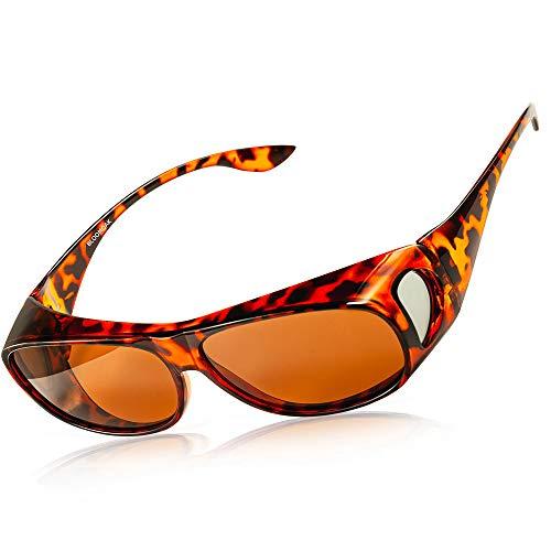 Gafas polarizadas de desgaste antideslumbrante UV 400 protección para hombres y mujeres – polarizadas envolturas alrededor de gafas – Traje para conducir/informática/pesca/golf (lente marrón té) ⭐