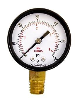 DuraChoice 2  Pool Spa Filter Utility Pressure Gauge for Water Oil Gas 1/4  NPT Lower Mount Black Steel Case 0-60PSI