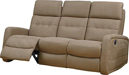 Destock Muebles Sofá Relax Eléctrico MARCO Microfibra Caramelo 3 Plazas