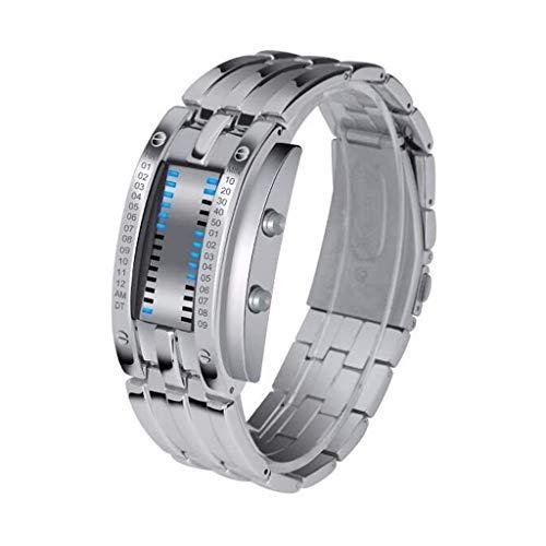 QJL_ANA Guarda Creativo Electronic Sports Watch Watches Mens Designer Outlet Uomini di Modo vigilanza Luminosa Impermeabile Uomini e Donne Coppia Tabella (Color : Silver-l)
