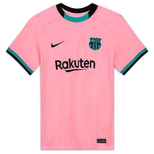 NIKE FC Barcelona Temporada 2020/21-FCB W NK BRT STAD JSY SS 3RCK7850-654 Camiseta Tercera Equipación, Mujer, Pink Beam/Black Full Sponsor, S