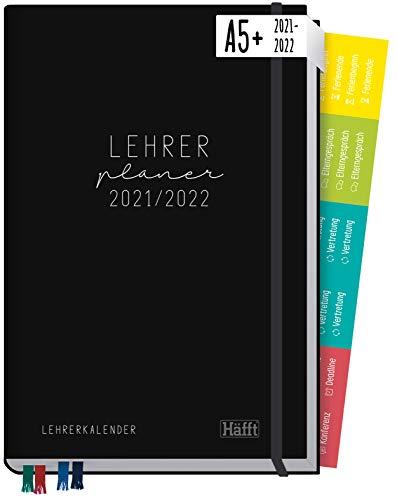 Lehrer-Planer 2021/2022 A5+ [Black Edition] Hardcover Lehrerkalender Schuljahresplaner mit Sprüchen, Stickern, Gummiband und mehr | nachhaltig & klimaneutral