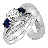 His Hers Wedding Rings Set Sterling Silver Wedding Bands for Him Her 9/15