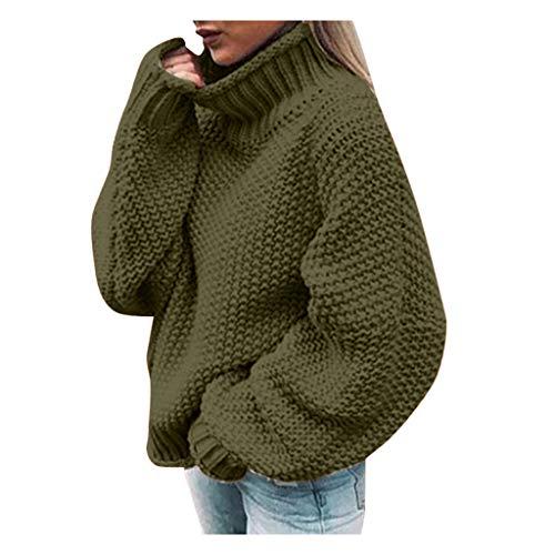 BOLANQ Damen Pullover Langarm Sweatshirt Blusen, Pullover Lange Uniform Rollkragen Lose Bluse Gestrickte Warme Chic