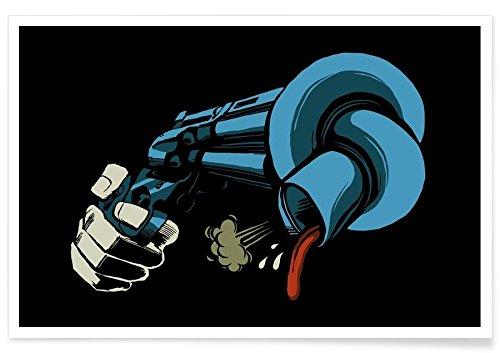 Juniqe® Affiche 80x120cm Pop Art - Design Crooked Gun (Format : Paysage) - Poster, Tirages d'art & Tableaux par des Artistes indépendants créé par Butcher Billy