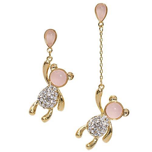 Pendientes de plata 925, osito con diamantes, pendientes asimétricos con globo de ojo de gato, accesorios para mujer