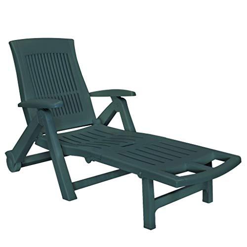 vidaXL Sonnenliege mit Fußablage Witterungsbeständig Gartenliege Strandliege Liege Gartenmöbel Relaxliege Liegestuhl Kunststoff Grün