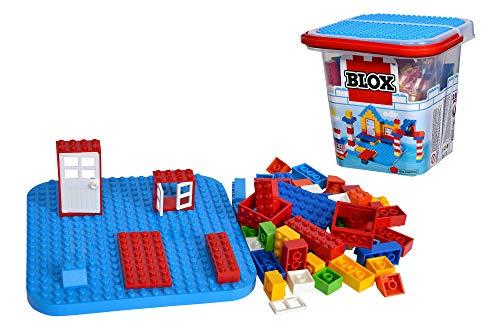 Simba 104114518 - Blox 250 Bausteine im Eimer, für Kinder ab 4 Jahren, Verschiedene Steine, 8 Fenster, 4 Türen, mit Grundplatte, vollkompatibel, farblich gemischt
