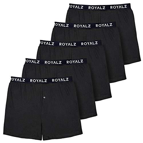 ROYALZ 5er Pack Boxershorts Weit für Herren American Style Comfort Unterhosen klassisch 100% Baumwolle Weich Locker 5 Set Männer Unterwäsche, Farbe:Schwarz, Größe:XL