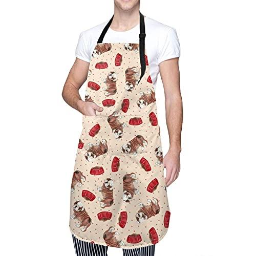 Grembiule da cucina con bulldog francese con tasca regolabile, grembiule da cuoco per uomo e donna