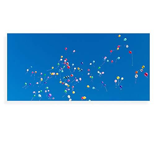 Banjado Wechselscheibe für IKEA GYLLEN Wandlampe   Glasscheibe für Wandleuchte 56x26cm   Echtglas Motiv Bunte Luftballons   Querformat