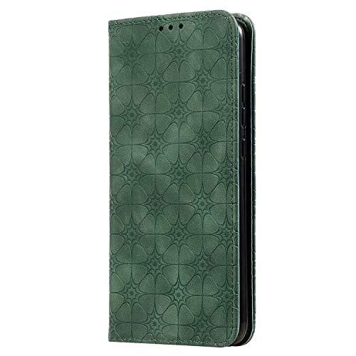 FANFO® Funda para Samsung Galaxy A21S, [Lucky Serices] con Soporte, Cuero PU Retro Elegante Cubierta Suave Cierre Magnético Incorporado, Verde