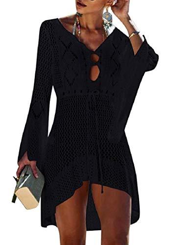 Voqeen Mujer Pareos Playa Traje de Baño Verano Vestido de Playa Sexy Bikini Cover up Camisola de Playa Camisolas y Pareos Ganchillo Túnica de Punto Estilo Sobredimensionado (Negro)