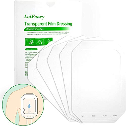 LotFancy Wundverband wasserdichte Pflaster 15cm x 20cm Transparenter Verband, nach der Operation, Narbentherapie, medizinische Versorgung, Tätowierungsverbände, Duschschutz, 10 Stück