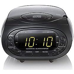 Memorex CD Top Loading CD Dual Alarm Clock AM/FM Stereo Radio, 3.5mm Aux Line-in, Black (MC7264)