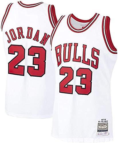 Men's #23 Jordans Jersey-Retro Polyester Mesh Sports Shirt S-XXL White/Black/Red L White