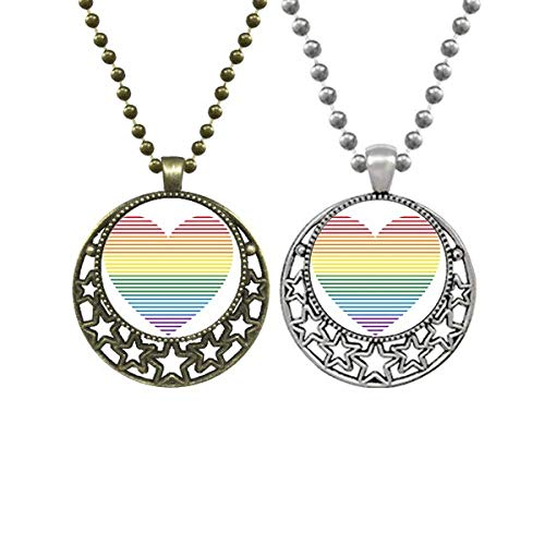 Rainbow Gay Lesbian Lined Heart LGBT Lovers Necklaces Pendant Retro Moon Stars Jewelry