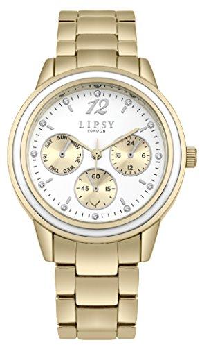 Lipsy Damen Datum klassisch Quarz Uhr mit Aluminium Armband SLP006GM