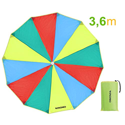 WINOMO Schwungtuch mit 12 Griffe für Kinder und Familie, Game Schwungtücher Regenbogen Fallschirm (3,6m)