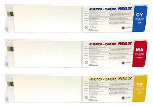 Ink Master - Set 3 Cartucho remanufacturado Roland Eco-Sol MAX CMY para Roland BN-20 RS-540 RS-640 SJ-645EX SJ-745EX SJ-1045IS SP-300i SP-300V SP-540i SP-540V VP-540i VP-300i XC-540 XJ-640 XJ-740