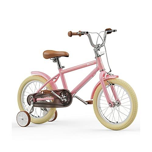 WJS Bicicletta per Bambini Ragazzo Ragazza,Bicicletta Bambina 16 Pollici,Bicicletta Bambini 5-9 Anni,Bici Bambino con Rotelle E Cestino,Verde(Color:Pink)