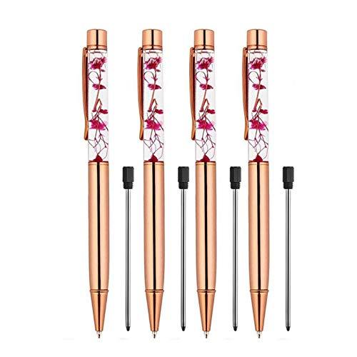 4 Pieces Rose Golden Ballpoint Fountain Pen, Metal Ball Pens Dynamic Liquid Flower Pen Black School Supplies