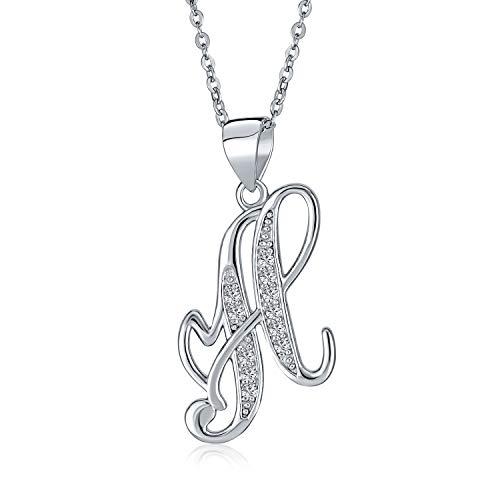 Abc Zirkonia Pflaster Cz Cursive Skript Buchstabe Alphabet Initiale H Anhänger Halskette Für Frauen Sterling Silber