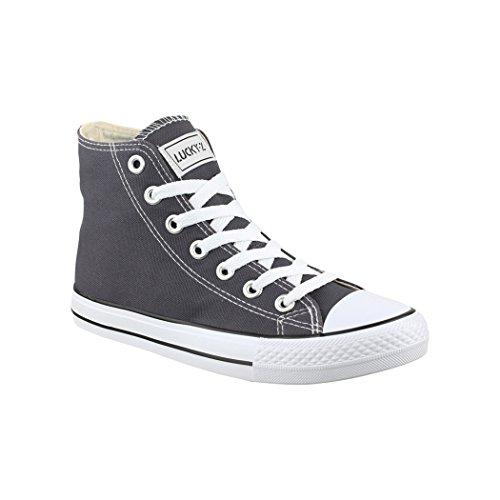 Elara Zapatillas de Deporte Unisex Zapatos Deportivos High Top Chunkyrayan Gris Oscuro 014-A-DKGrey-36