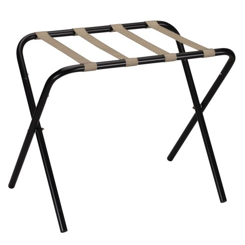 Review Of Household Essentials 2126-1 Folding Luggage Rack | Black Frame with Khaki Straps