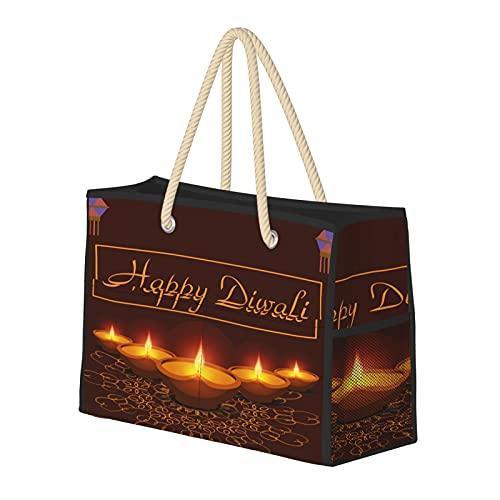 Happy Diwali, bolsa de playa grande resistente al agua, bolsa de playa de paja, bolsa de hombro, para gimnasio, playa, viajes, bolsas diarias