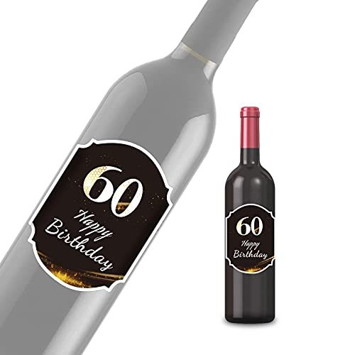 2 etiquetas para botella de 60 cumpleaños con texto en inglés 'Happy Birthday' para botellas, adecuadas para regalos de fiesta, para hombres y mujeres (8,5 x 12 cm)