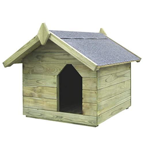 vidaXL Casa para Perro Jardín Madera de Pino Tejado Abierto
