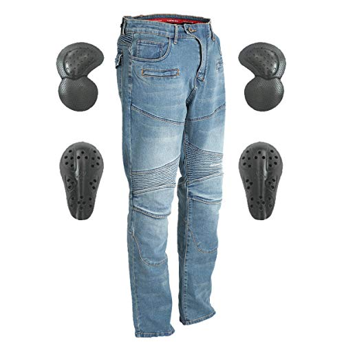 Men & Women Motorcycle Riding Jeans, Motorbike Protective Pants, Motor Bicycle Trousers with CE Hip & Knee Armor Pads VES3 (Blue, S)