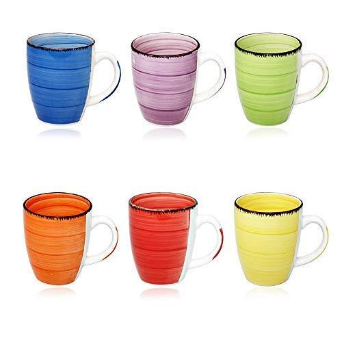 DRULINE 6er Set Kaffeetasse Kaffee Tee Milch Kakao Keramik Becher Tassen Pott Premium Porzellan Uni bunt Modernes Design ca. 350 ml in tollen Farben für Ihr liebstes Heißgetränk für Kaffee, Cappuccino und Latte Macchiato Bunt 45544 Tasse Geschenk für