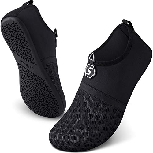 SEEKWAY Womens and Mens Water Shoes Quick-Dry Aqua Socks Barefoot for Outdoor Beach Swim Sports Yoga Snorkeling SK001-781 Black 9.5-10.5 Women/8.5-9.5 Men