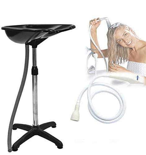 Lavacabezas portátil de 5 patas con tubo de desagüe + ducha universal para peluquería, personas enfermas, encamadas o impedidas