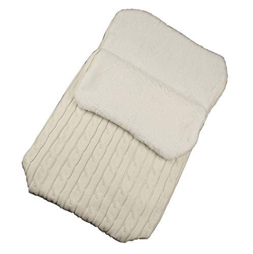 Luccase Babyschlafsack 14,17 × 26,77 '' Acrylfasern und Baumwolle Baby Hooded Swaddle Knit Wrap Warme Decke Kinderwagen Schlafsack Steppdecken für 0-12 Monate Baby (Weiß)