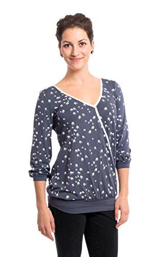 Viva la Mama Maternity Shirt 2in1Shirt für Schwangerschaft und Stillzeit Umstandsbluse elegant - Lilly - grau Schwalben - XL