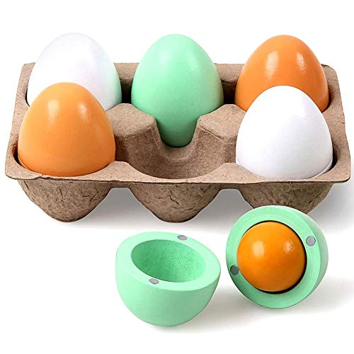 Kangler 6pcs Wooden Fake Eggs Children Kitchen Game Food Toy for Kids Early Development, Learning, Birthday Gifts