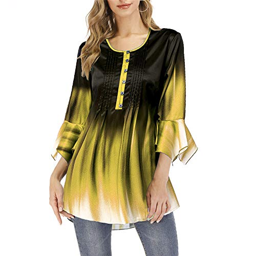 Autumn New Gradient Casual Loose Mujer Cuello Abierto Manga Larga Camiseta Superior