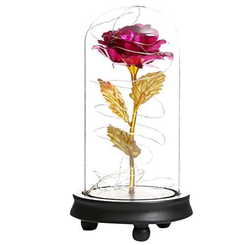 Andouy Rose Geschenk Kit, Eleganten Glaskuppel mit LED-Licht Pine Base, Wohnkultur für Geburtstag Valentinstag Muttertag Jahrestag(11x21.5cm.Pink)